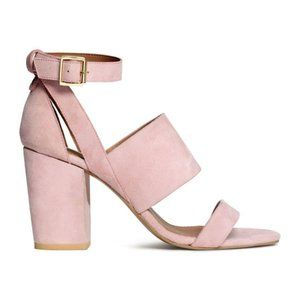 H&M LIGHT PINK SUEDE LEATHER BLOCK HEEL SANDAL 38